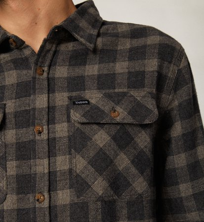 Brixton Bowery Flannel Black Heather Grey
