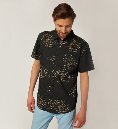 Brixton Charter Print Woven Washed Black