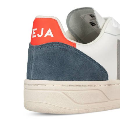 Buty Damskie Veja V-10 Leather Extra White/Oxford Grey/Orange Fluo