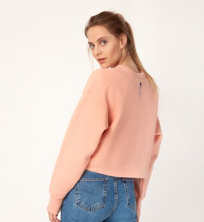 Champion Crewneck Cropped Oversized Peach
