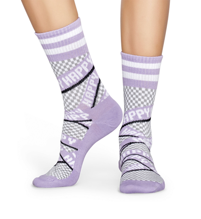 Happy Socks Athletic 3/4 Crew Taśma Happy Fioletowa
