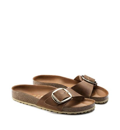 Klapki Damskie Birkenstock Madrid Big Buckle FL Cognac HEX Narrow