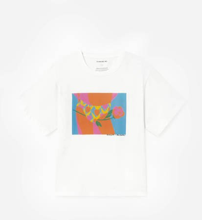 T-Shirt Damski Thinking MU Tulipan White