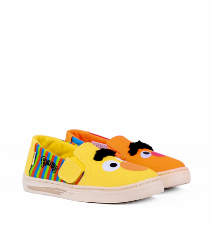 "Toms Bert And Ernie Face Canvas Kid""S Luca Slipon Yellow Orange"