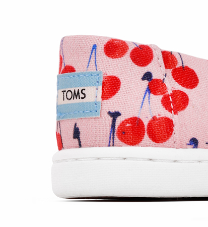 "Toms Cherry Cherie Print Bow Kid""S Alpargata Coral Pink"