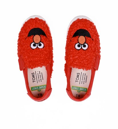 "Toms Elmo Shearling Face Canvas Kid""S Luca Slipon Red"